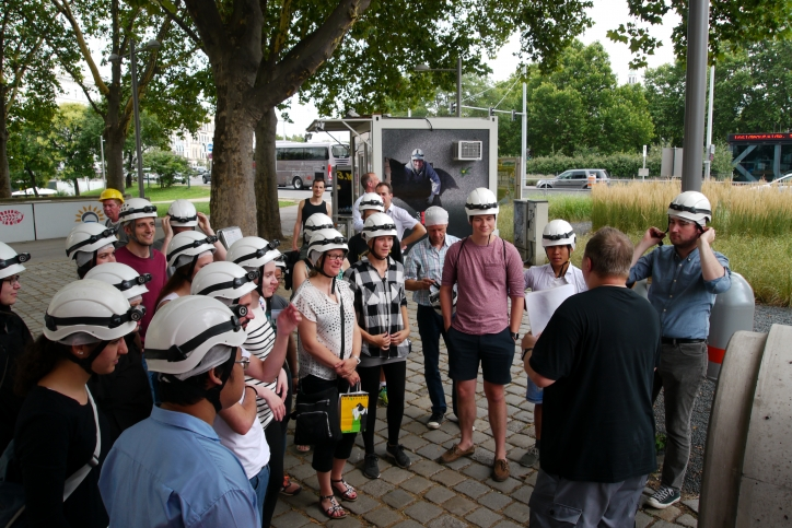Summer school participants attending the third man tour into the Viennese sewage system